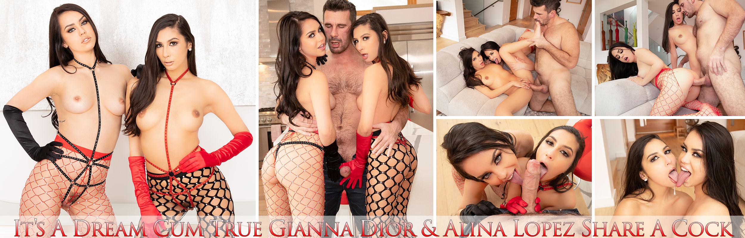 It's A Dream Cum True Gianna Dior & Alina Lopez Share A Cock